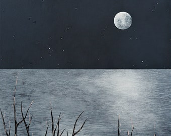 The Night of the Huge Moon at Covehithe - Winter Landscape 8x8 Art Print - Seascape, Coastal, Suffolk - by Natasha Newton