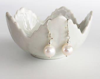 Simple Pearl Earrings in Sterling Silver, Classic Small Cream Pearl Drop Earrings, Real Freshwater Pearl Jewellery