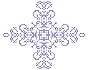 Instant Download Flowering Flourish Cross Stitch Pattern, PDF Cross Stitch Pattern, Whole Cross Stitch Only Chart, Choose Your Colors