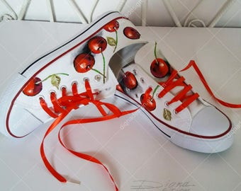 CHERRY ART, Hadpainted Shoes, Cherries Shoes, Cherry Sneakers, Footwear Cherry Art, Handpainted Sneakers Art, Shoes Art
