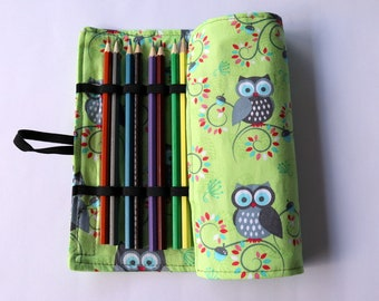 Large Pencil Roll - Holds 24 pencils (included) - green owl, woodland, forrest