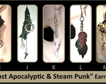 Steampunk jewelry, steampunk,Cool Earrings, Wife gift, Mother Gift, Leather earrings, daughter gift,friend gift