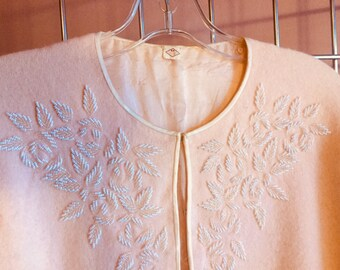 Baby Pink 1950s Beaded Wool Cardigan
