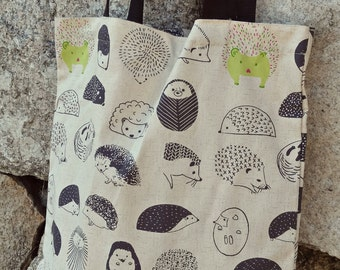 Hedgehog Printed 100% Cotton canvas bag / long straps