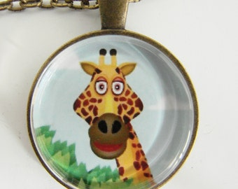 GOOFY GIRAFFE Necklace, Animal friend, For the young at heart, Bright and cheerful