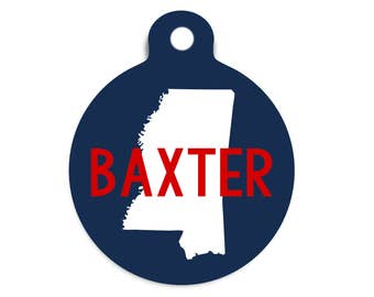 State Pet ID Tag, Your State Pet Name Tag, State Cat ID Tag, Aluminum Dog Tag, Metal Pet ID Tag, Trendy Collar Tag for Pets, Location Id Tag