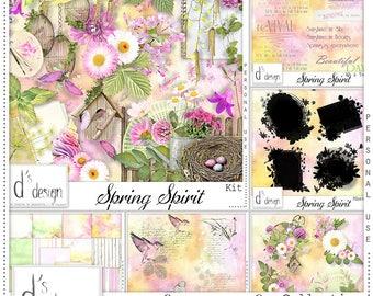 Spring Spirit - Digital Scrapbooking Collection - Vintage - Scrapbook - Imprimable