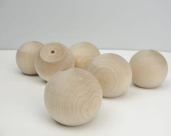 "Wooden ball knob 2"" (2 inch ball knob) solid wood set of 6"