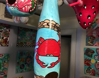 Cool crab beach themed gourd birdhouse
