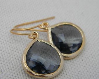 Charcoal Grey and Gold Dangle Earrings- Drop Earrings-Bride-Bridal-Wedding