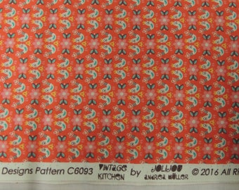 Fabric cotton patchwork Riley Blake designs red background colorful chickens
