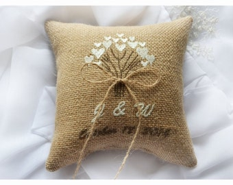 Burlap Wedding pillow , love tree wedding pillow , ring bearer pillow, ring bearer pillow with Custom embroidery (R36B)