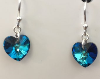 Swarovski Bermuda Blue Crystal Heart and Silver Earrings