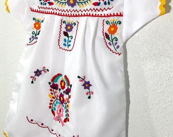 Mexican Baby Dress Embroidered White Fiesta Flower Girl Dress - Size 5