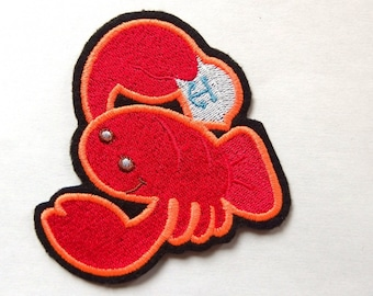 Applied patch embroidery patch fusible crab lobster