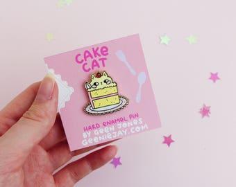 Enamel Pin Cat, Cake Cat, 30mm, Hard Enamel Pin, Pink, Cute, Kawaii, Heart, Cake Lover, Cat Lover, Crazy Cat Lady, Lapel Pin
