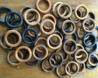Lot of 44 Vintage Curtain Rings Mixed Colors