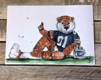 Auburn Tigers Aubie Watercolor Sketch