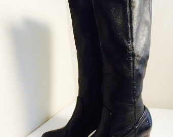 BEAUTIFUL Vintage Black Leather 'Rory Scrunch' Knee Boots By 'Frye' - 7M, Gorgeous!!