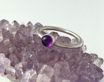 Amethyst stacking ring, February birthstone, amethyst and silver ring, sterling silver ring, purple gemstone ring, gift for her