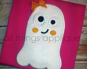 Happy Ghost Applique Design - 4 Sizes - INSTANT DOWNLOAD