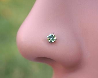 18 Gauge or 20 Gauge Light Peridot Green Crystal Nose Stud Nose Bone