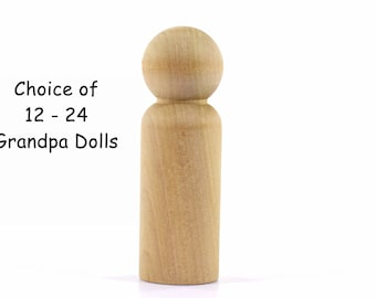 Grandpa / Large Man / Groom Unfinished Peg Dolls-Solid Hardwood-Natural / Organic-Finely Sanded and Ready for your Paint or Stain