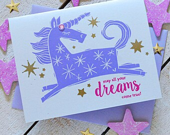 Unicorn Dreams Letterpress Birthday Card
