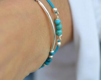 Turquoise Bracelet Tiny Bracelet Tube Friendship Bracelet Little Bracelet Teal Elastic Stackable Bracelet Delicate Bracelet Summer Bracelet