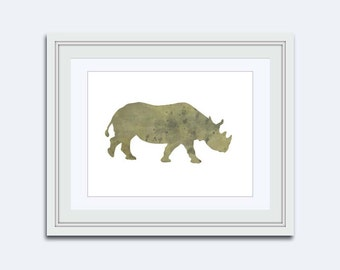 Safari Wall Art - Rhino print - Rhinoceros printable - Jungle Wall Art - rhino watercolor printable - boys Nursery Decor - kids room decor