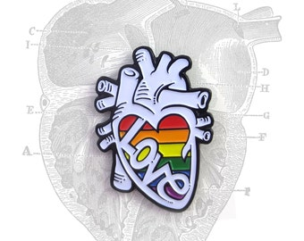 LOVE IS LOVE Anatomical Heart Pride enamel lapel pin