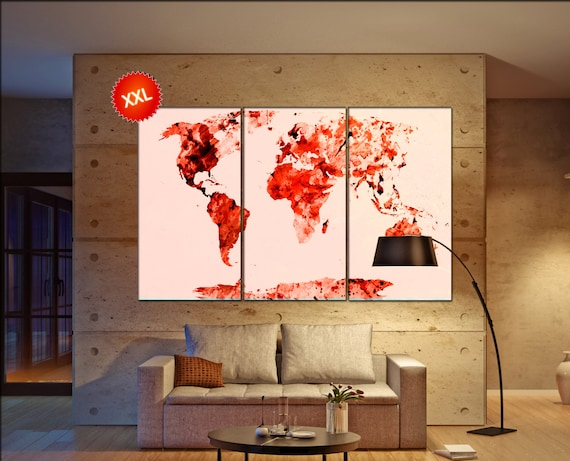Red World Map  print on canvas wall art Red World Map Art Print artwork large world map Print home office decoration