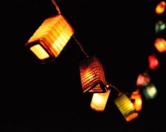 35 Bulbs Colourful mulberry paper Geometry spring Lanterns for party & decoration, fairy lights