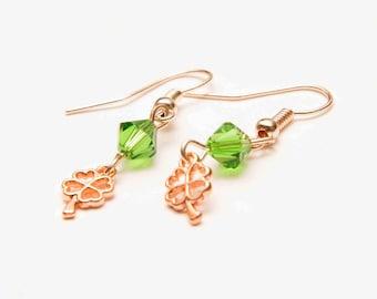 Green crystals, shamrock, St. Patricks Day, four leaf clover earrings, rose gold dangle earrings