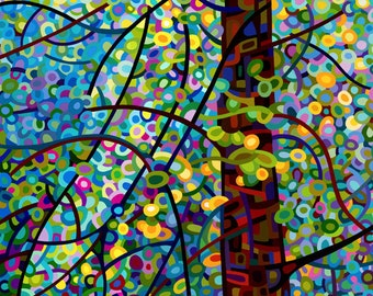 Abstract Fine Art Print Forest Blue Green Pine Sprites