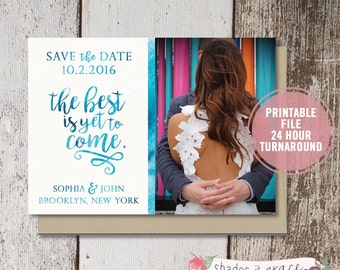 Printable Save the Date Cards, Watercolor Save the Date Cards, Save the Date Photo Invitation, Engagement Photo Card, Wedding Save the Date