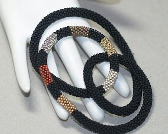 Industrial Chic ... Bead Crochet Rope . Necklace . Bracelet . Matte Black . Metallic Stripes . Copper . Silver . Gold . Bold