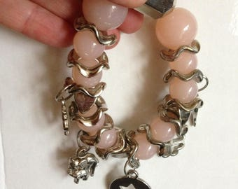 Bracelet - pretty translucent pink bead bracelet retro design with silver charms