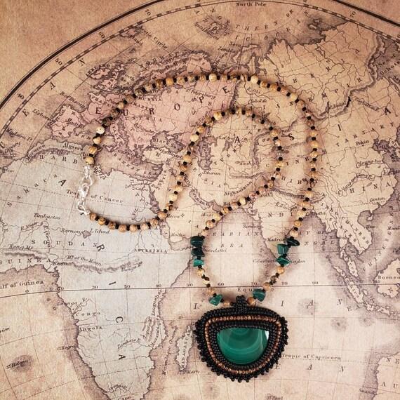 Green Malachite Pendant and A Picture Jasper Necklace