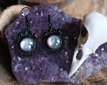 Overcast Black Earrings - Wicca, Witchy, Goth, Crystal, Space, Galaxy, Cammeo