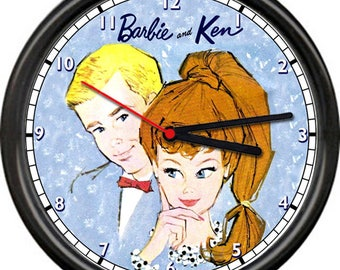 Barbie Ken Doll Retro Vintage 1960's Paper Dolls Poster Sign Wall Clock