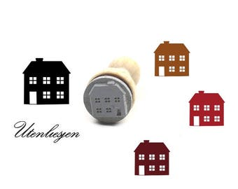 Stamp, house, apartment building, rubber stamp Ø 15 mm