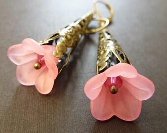 Flower earrings pale pink lucite rose brass estate style earrings