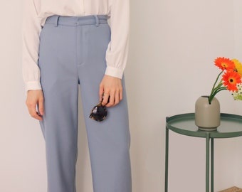 Brume Trousers -greyish blue straight-cut cotton trousers