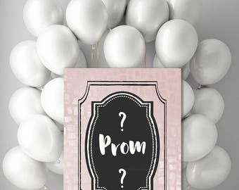 Printable Promposal Sign  -  digital High School Prom proposal invitation for girlfriend -  large pink black white poster - jpg 8x10 20x24