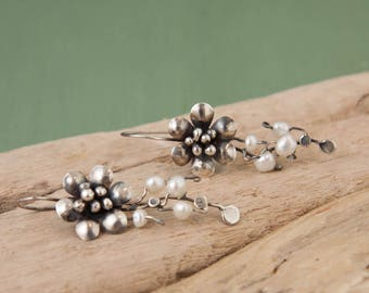 Blossom & Flower Pearl Earrings, Sterling Silver, Freshwater Pearl