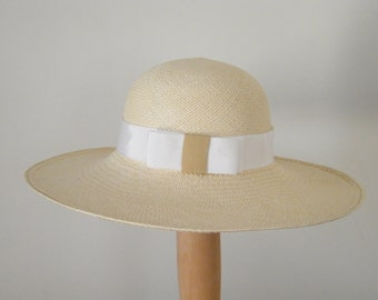 wide brim straw sun hat, white Panama hat for women, ladies' sun protection hat, quality summer hat