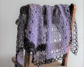 Lacy triangle shawl with handkerchief hem / purple mohair wrap / mauve triangle scarf / lightweight shawl