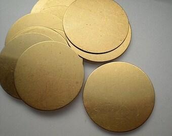 "12 flat round brass discs/ 2"" stamping blanks"