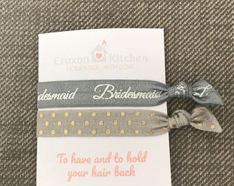 Grey Bridesmaid And Grey Pokka Dot Creaseless Elastic Hair Ties